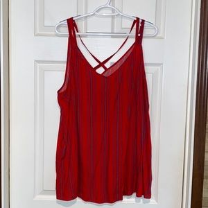 Maurice's red and blue striped tank top